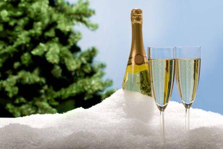 sektglas: Foto von zwei Champagner mit Flasche und Tanne Zweig am Hintergrund im Schnee
