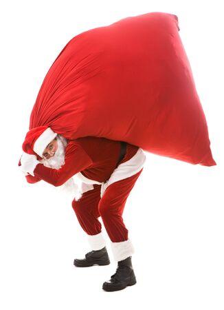 �santaclaus: Retrato de fuerte Santa Claus mantiene gran saco rojo con presenta