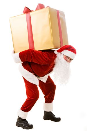 Photo of happy Santa Claus carrying big giftbox on his back