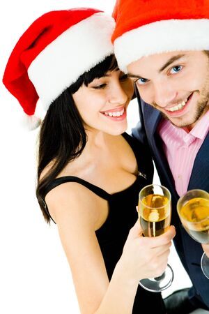 Portrait of happy female with champagne flute with her husband near by photo
