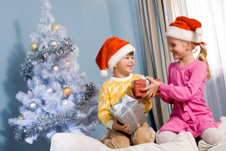 Portrait of happy siblings exchanging Christmas gifts at home Stock Photo - 6091844