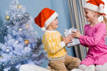 Portrait of happy siblings holding Christmas gifts and looking at each other Stock Photo - 6091880