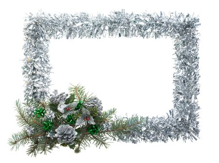 trumpery: Christmas composition in form of silver frame over white background Stock Photo