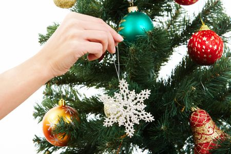 coniferous tree: Close-up of Christmas fir tree being decorated with artificial snowflake Stock Photo