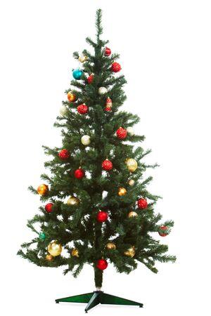 weihnachten tanne: Bild der Fir Weihnachtsbaum verziert mit roten und goldenen Spielzeug B�lle Lizenzfreie Bilder