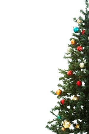 christmas toy: Half of Christmas fir tree decorated with red and golden toy balls Stock Photo