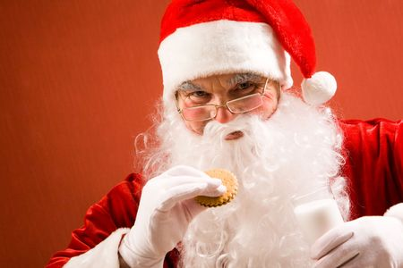 bisquit: Photo of happy Santa Claus in eyeglasses looking at camera while drinking milk with bisquit