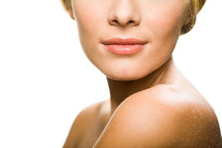 nosa: Makro z dolną częścią całkiem żeński twarzy
