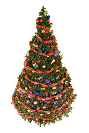 Image of Christmas fir tree decorated with colorful toy balls and garlands Stock Photo - 6109215