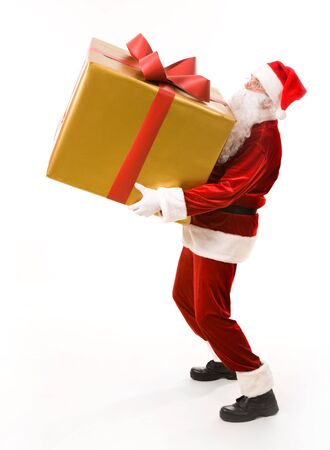 Photo of strong Santa Claus holding heavy giftbox over white background photo