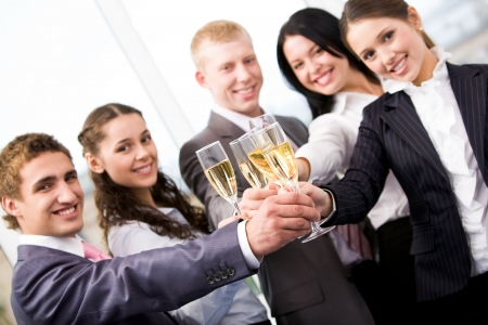 Image of friends making cheers and looking at camera Stock Photo - 6107134