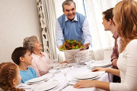 Portrait of big family at festive table at home Stock Photo - 6107336