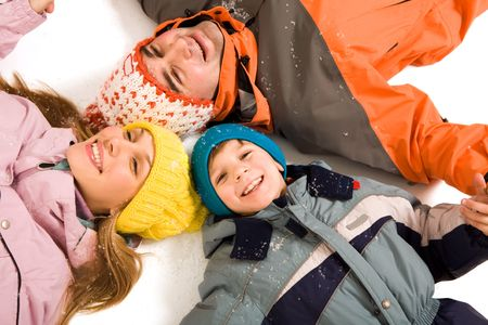 Above angle of happy family looking at camera photo