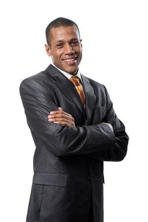 african business: Portrait of successful professional wearing black suit and smiling