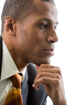 Thinking specialist touching his chin over white background Stock Photo - 6226690