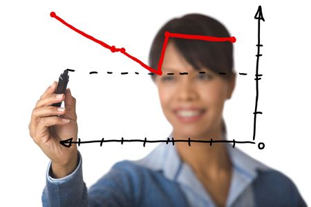 Photo of graph drawn by businesswoman with highlighter at background photo