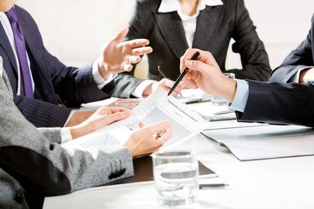 teamworking: Image of human hands during business discussion