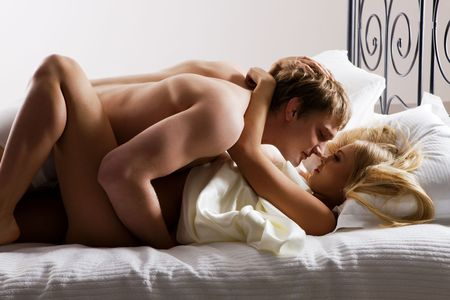amorous woman: Photo of relaxed husband and wife sleeping together Stock Photo