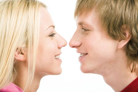 Loving couple looking at each other with smiles Stock Photo - 6614474