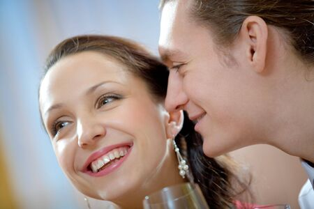 amorous woman: Image of amorous man looking at laughing woman