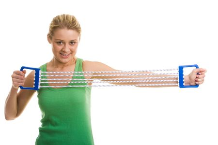 Image of sporty girl doing stretching exercise with special equipment photo