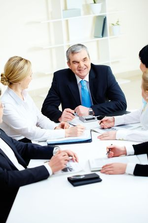 Image of senior leader making speech at meeting Stock Photo - 6669649