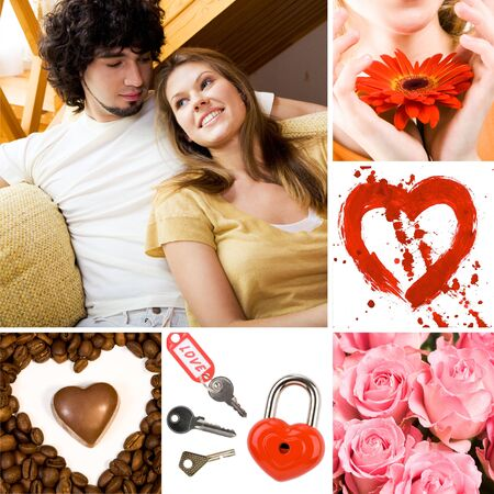 Collage of valentine day symbols and amorous people photo