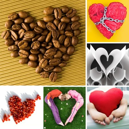 Collage of different shapes of heart as symbol of Valentine�s Day photo