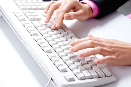 Photo of female hands over white keyboard pushing its buttons during work Stock Photo - 6669735
