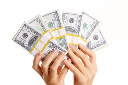 cash in hand: Close-up de explotaci�n de la mano humana bucks  Foto de archivo