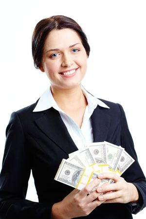 Portrait of happy female holding fan of dollars and looking at camera with smile Stock Photo - 6669840