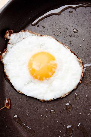 Image of fried egg on Teflon saucepan photo