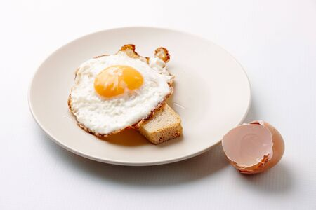 Close-up of fried egg on plate served with piece of wheat bread Stock Photo - 6669782