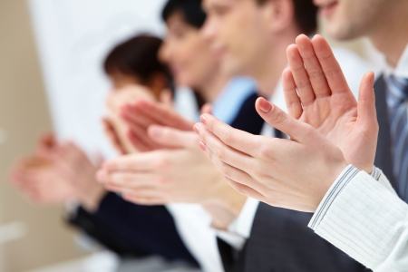 Photo of business partners hands applauding at meeting Stock Photo - 6700264