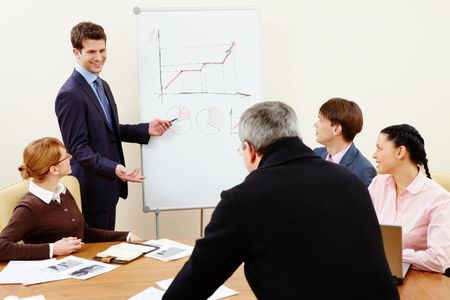 Image of confident man making presentation and interacting with the audience Stock Photo - 6700273