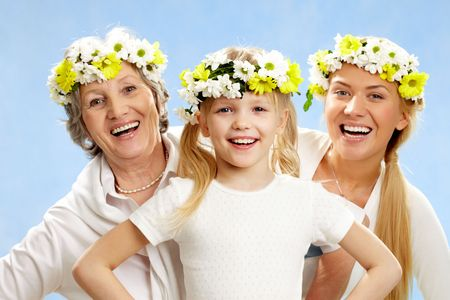 Portrait of grandmother and mother behind smiling girl  Stock Photo - 6700411