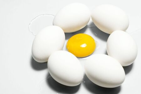 Image of fresh egg circle with raw yolk inside it over white background Stock Photo - 6715763
