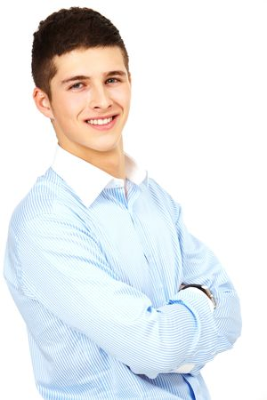 Portrait of young handsome businessman with crossed arms looking at camera Stock Photo - 6769957
