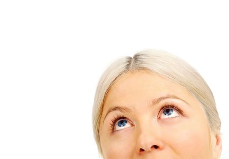 nostrils: Face of blonde female looking upwards in isolation