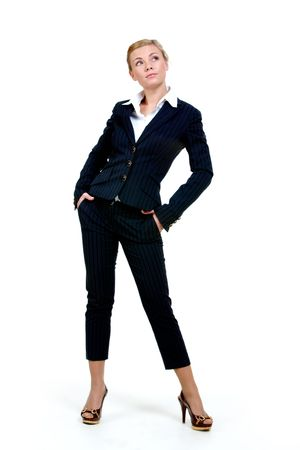 Portrait of elegant businesswoman in black suit on white background photo