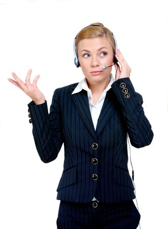 Image of successful professional in headset during telecommunication photo