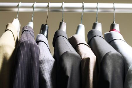 Photo of hangers with jackets of different colors on them Stock Photo - 6769971
