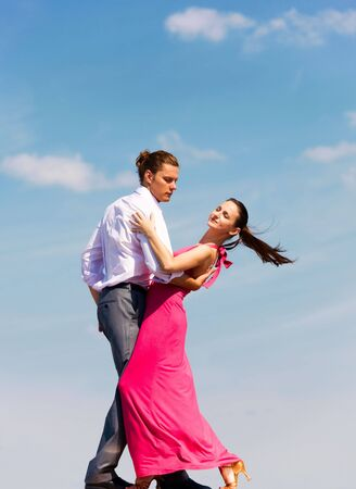 open air: Attractive couple enjoy during dance in open air