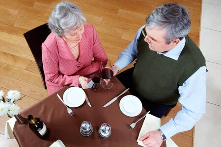 Above view of senior couple at a restaurant Stock Photo - 6894036
