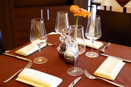 dinning: Image of fine table setting in restaurant  Stock Photo