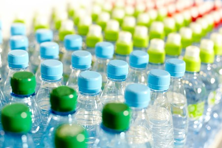 mineral water: Image of many plastic bottles with water in a shop