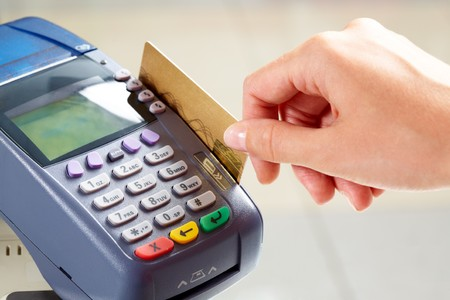 purchases: Close-up of moment of payment by credit card