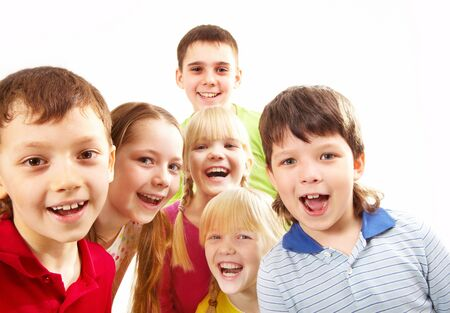 Image of playful boys and girls looking at camera Stock Photo - 6893748