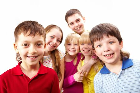 Image of young boys and girls smiling at camera Stock Photo - 6894235
