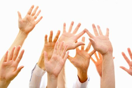 confederacy: Image of several raising human hands a white background